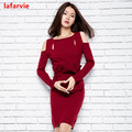 Lafarvie Women's Winter Off the Shoulder Cashmere Blend Mini Dress Elegant Lady Hollow Design Knitted Christmas Vintage Dresses