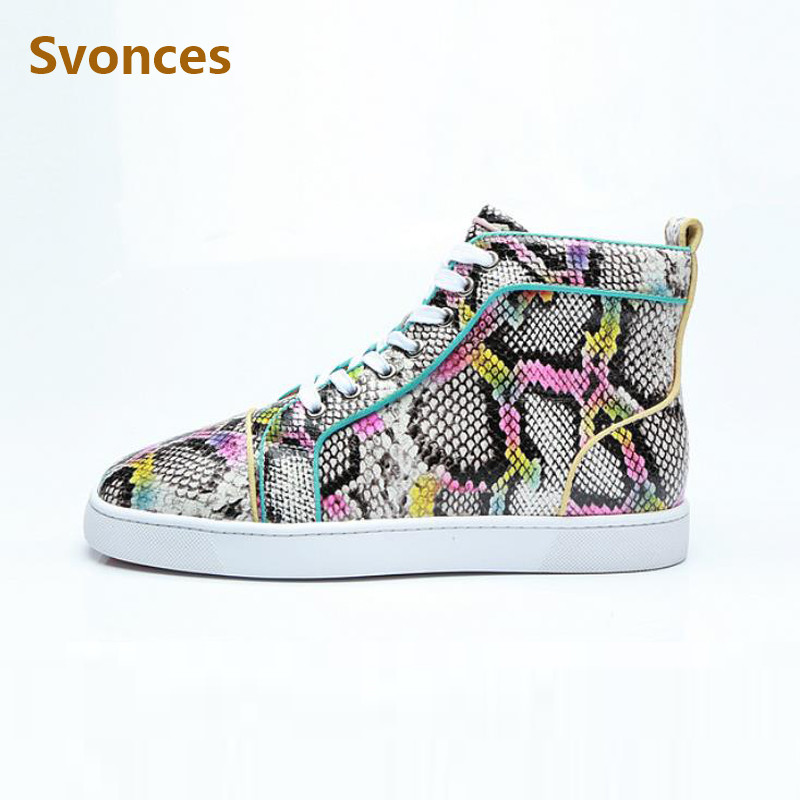 Detail Feedback Questions about Unisex Casual Boots Luxury Designer Shoes  Colorful Red High Top Bottom Serpentine Flats Sneakers Fashion Lace Up Brand  Shoes ... f070e2d39c00