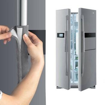 Drzwi lodówki osłona klamki urządzenie kuchenne Decor uchwyty przeciwpoślizgowe rękawice ochronne do lodówki piekarnik trzymaj odciski palców tanie i dobre opinie Włosy syntetyczne Refrigerator door handle gloves