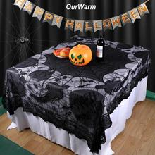 OurWarm Halloween Decoration Spider Web Lace Tablecloth Party Supplies Polyester Table Cover Rectangle 152cmX203cm Halloween