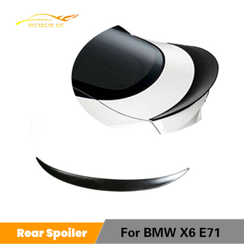 For BMW X6 E71 2008 - 2014 Rear Spoiler Trunk Boot Lip Wing PU UNpainted Black image