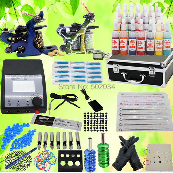 USA Storage New Complete Pro Tattoo Kit 2 Machine Guns 28 Inks Colors LCD Power Needles Grips Tips Equipment Set supplies new complete tattoo kit sets 2 machines guns grips needles tips power set equipment supplies