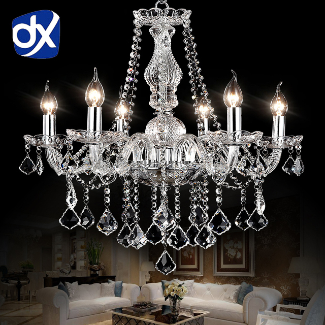 DX Luxury Clear Crystal LED Chandelier Lighting Living Room Chandelier K9 Crystal Chandeliers candlestick lampadario led avize