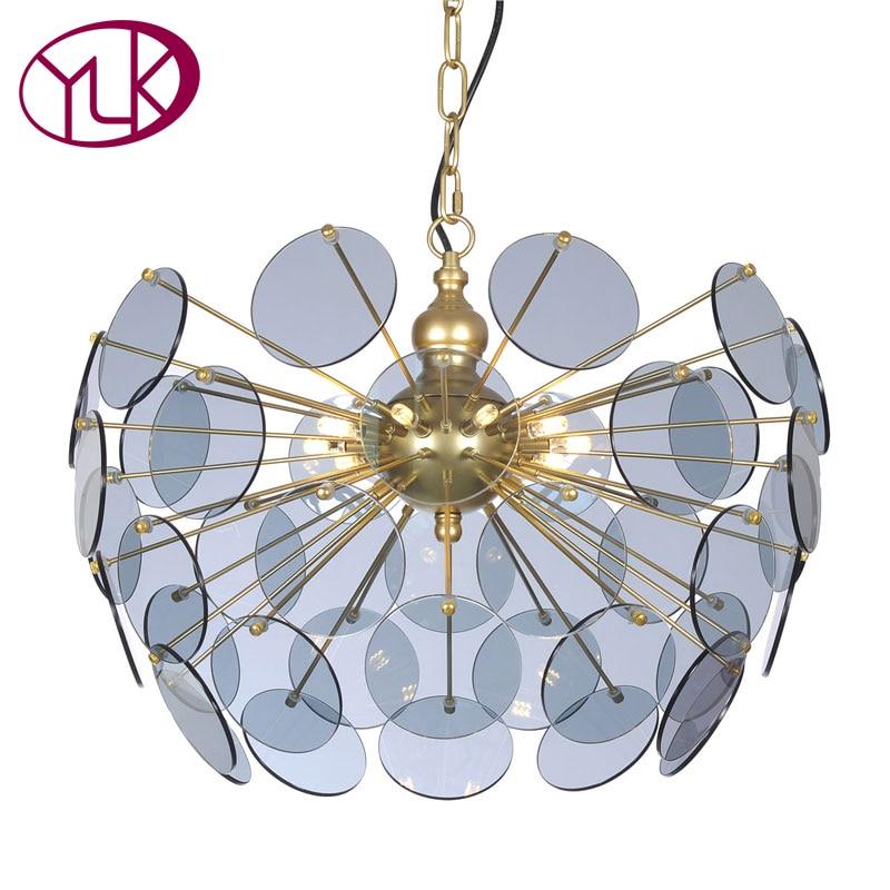 Youlaike Modern Chandelier Lighting Living Dining Room Smoke Grey Glass Lampshade LED Hanging Lustres Para Sala De Jantar