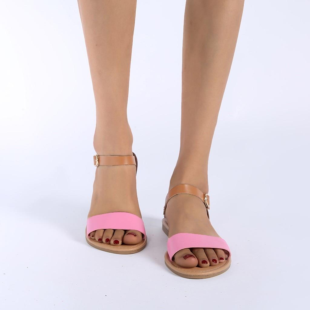 SAGACE Women's Sandals Solid Color PU Leather Sandals Women Fashion Style Flat Summer Women Shoes Women Shoes 2019 Sandals 41018