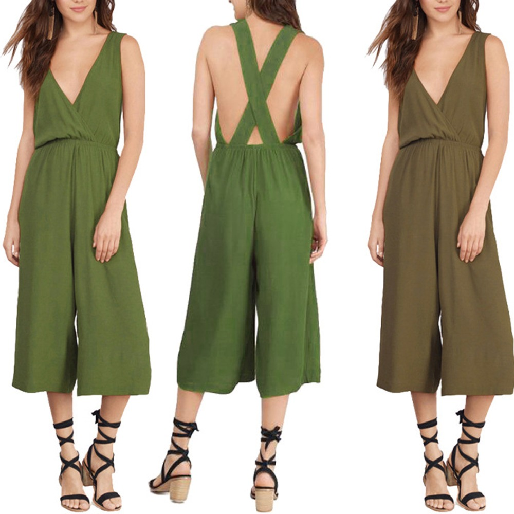 New Fashion Women V Neck Loose Playsuit Party Sexy Sleeveless Ladies Romper Long Jumpsuit Plus Size M-3XL