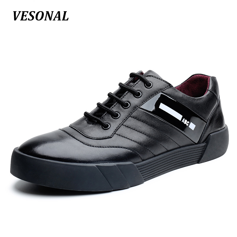VESONAL Low Top 100% Luxury Genuine Leather Men Shoes Fashion Letter Mens Shoes Casual Designer High Quality Black Red SD6218 gram epos men casual shoes top quality men high top shoes fashion breathable hip hop shoes men red black white chaussure hommre