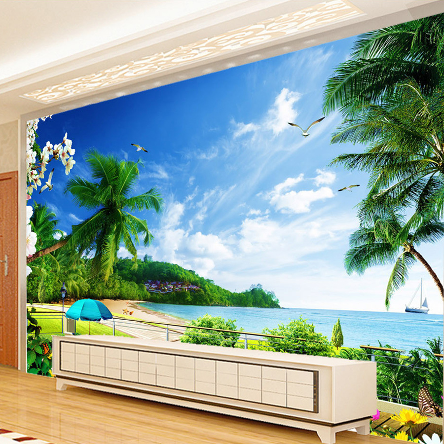 Custom 3D Photo Wallpaper Beach Landscape Living Room TV Background Wall Painting Wall Covering Wallpaper Decoration Murale Обои