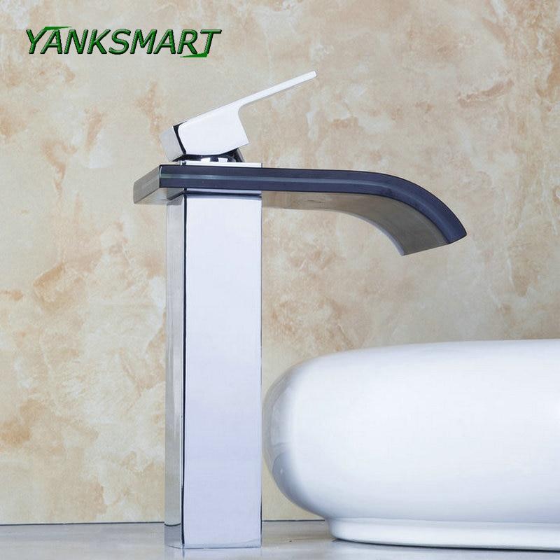 YANKSMART Waterfall Deck Mounted Bathroom Basin sink Tap Chrome W Black Glass Mixer Tap Single handle