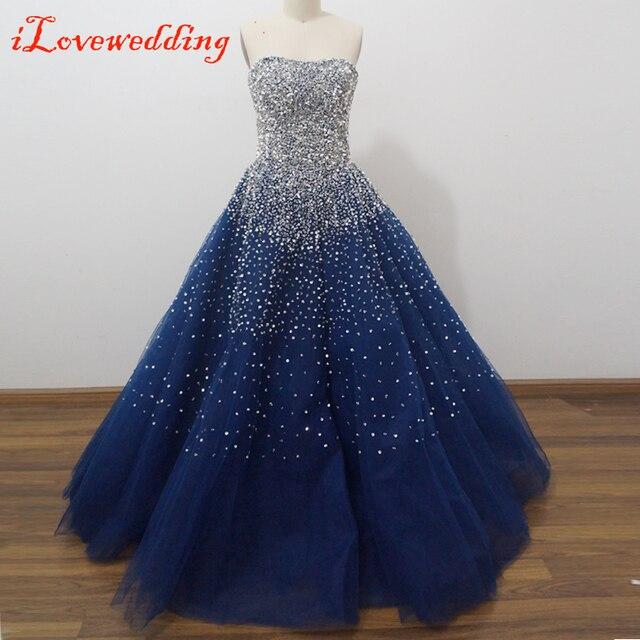 Hechos a mano azul real baile vestidos largos fuera del hombro con cuentas chispas lentejuelas Crystal vendaje de bola de baile vestido
