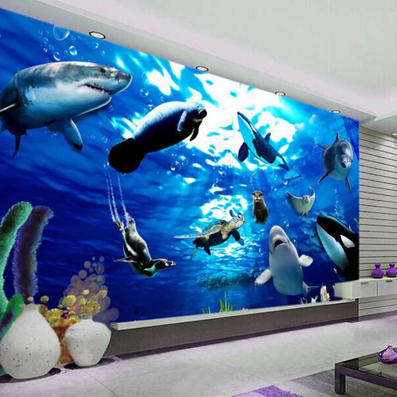 Papel pintado de dibujos animados para niños personalizado 3D mundo de los Fondos Marinos Mural de pared delfín tiburón ballena foto papel tapiz para niños pared del dormitorio Decoración