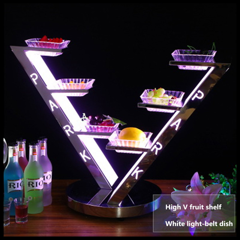1 PCS Arthur Bar KTV Glowing Snack Tray Creative Snacks Snack Dish LED Charging Stainless Steel Fruit Tray in Dishes Plates from Home Garden