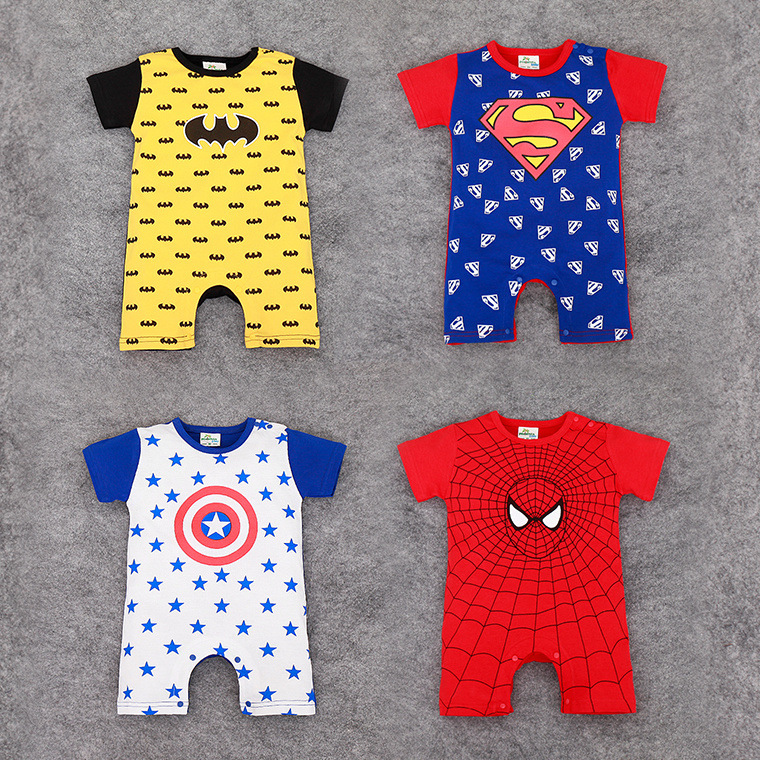Newborn baby short-sleeved   romper   summer Superman Spider-Man Captain America Batman cartoon jumpsuit   romper