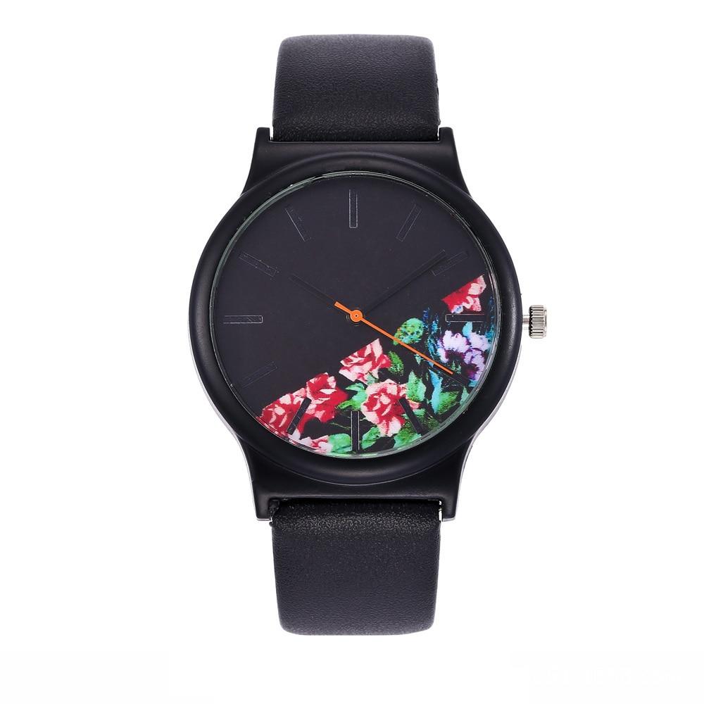 2018 Black Flower Watch Women Watches Ladies Brand Luxury Famous Female Clock Quartz Watch Wrist Relogio Feminino Montre Femme