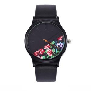 2018 Black Flower Watch Women Watches Ladies Brand Luxury Famous Female Clock Quartz Watch Wrist Relogio Feminino Montre Femme(China)