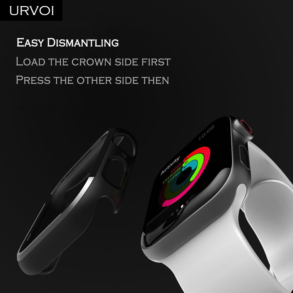 URVOI Black frame for Apple Watch series 4 3 Plastic bumper hard cover protectorfor iWatch 40 44mm slim fit Ultra-thin case_08