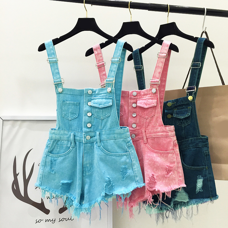 2017 New Women Clothing Fashion Denim Playsuits Cotton Strap Rompers Shorts Loose Casual Overalls Shorts Female Playsuits