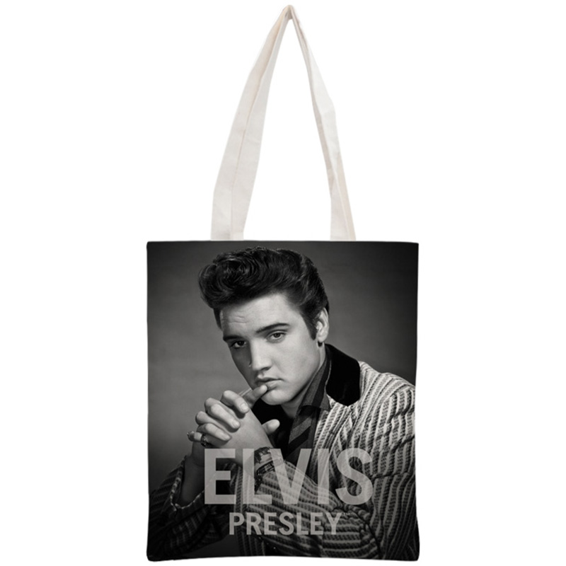 Custom Elvis Presley Tote Bag Reusable Handbag Women Shoulder Pouch Foldable Canvas Shopping Bags 30x35cm Two Sides