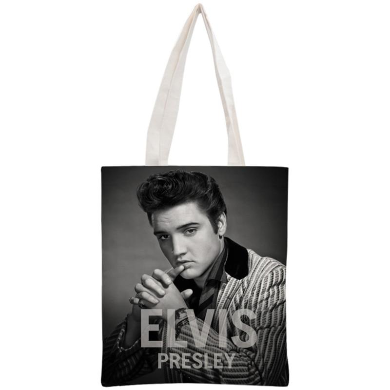 Custom Elvis Presley Tote Bag Reusable Handbag Women Shoulder Pouch Foldable Canvas Shopping Bags 30x35cm Two Sides