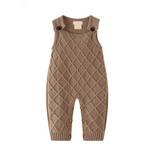 Baby Rompers Knitted Brown Sleeveless Overalls for Newborns