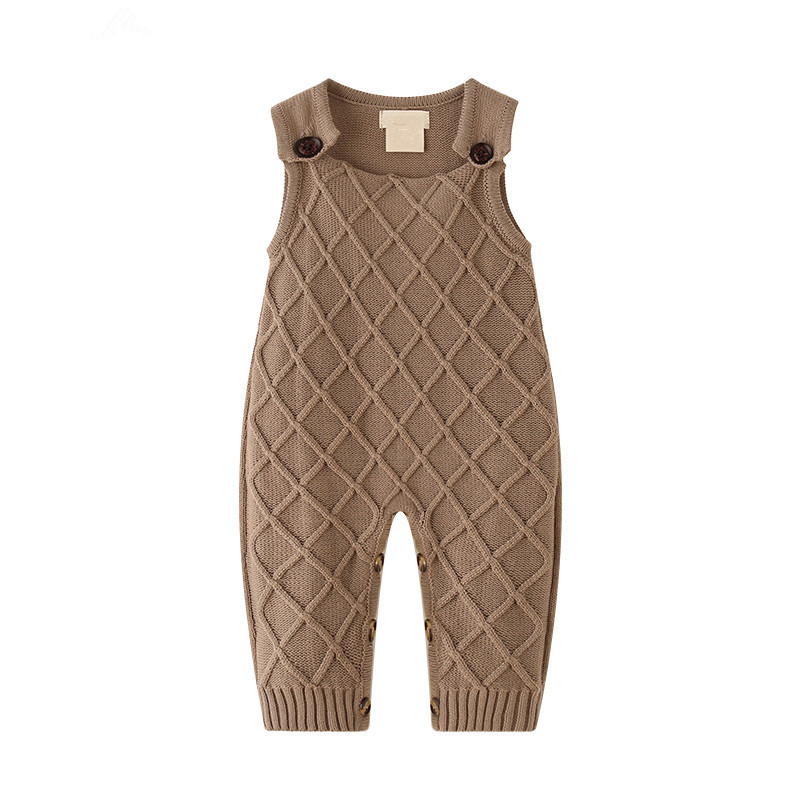 Sleeveless Overalls for Newborns One Piece Jumpsuits Brown Cotton Knitted Toddler Girls Rompers Autumn Outerwear Infant Clothing delicate colorful hand knitted bracelet for women one piece