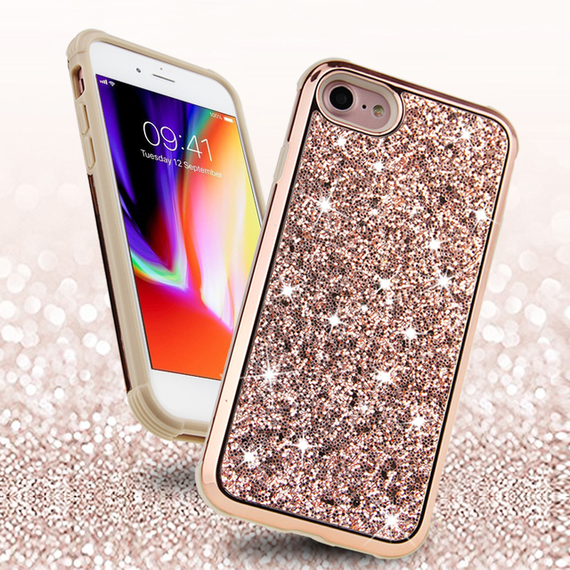 For iPhone 8 Case Bling Sparkle Dual Layer Shockproof Hard Cover Soft  Bumper Girls Women Protective Glitter Case for iPhone 7  8 ee4eae4867