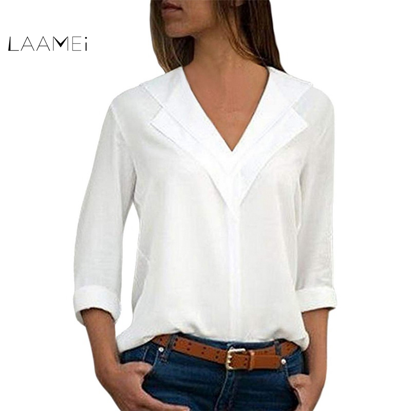 Laamei Womens Tops And   Blouses   Plus Size Women Clothing V Neck Chiffon   Blouse   Ladies Tops Long Sleeve Casual Women   Blouse     Shirt