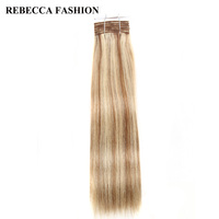 Rebecca Brazilian Remy Silky Straight Weave Hair Medium Brown Blonde P6 613 Human Hair Bundles 113g