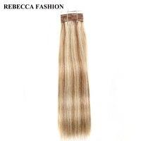 Rebecca Brazilian Remy Silky Straight Weave Hair Medium Brown Blonde P6 613 Human Hair Bundles 113g