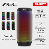 AEC colorful Waterproof LED light Portable Bluetooth Speaker BQ 615 Pro Wireless Super Bass Mini Speaker Flashing Lights FM