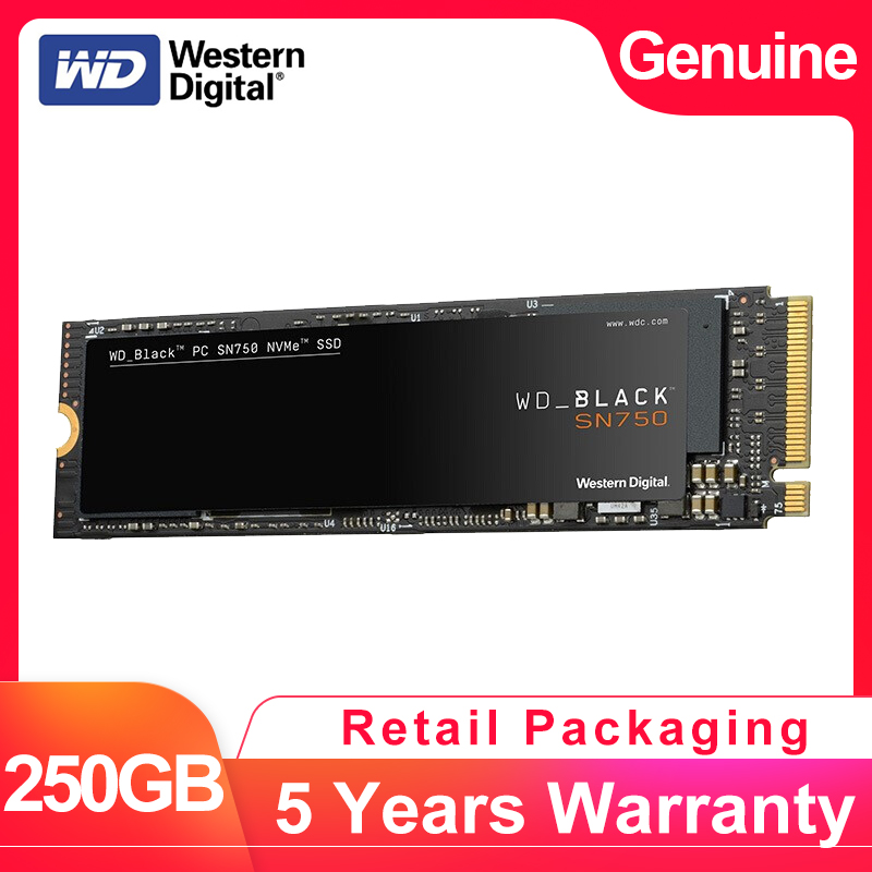 WESTERN DIGITAL WD BLACK SN750 3D NAND SSD 250GB M.2 2280 NVMe PCIe Gen3 * 4 Interne Solid State drive Voor PC Laptop WDS250G3X0C-in Interne Solide Aandrijfstations van Computer & Kantoor op AliExpress - 11.11_Dubbel 11Vrijgezellendag 1