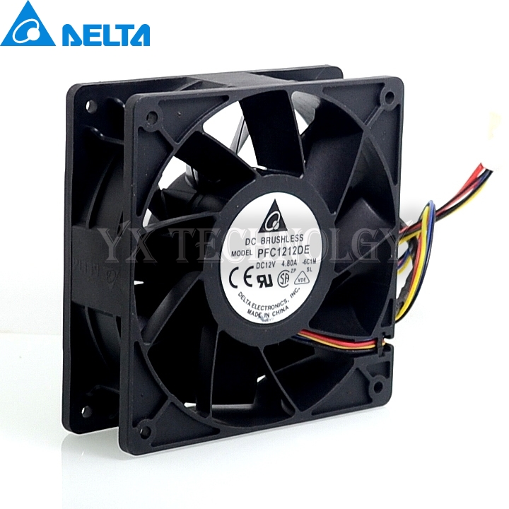 Delta New 12038 12CM high speed fan 12V  4.8A PFC1212DE violence 120*120*38mm 2pcs/lot new original delta 12cm tha1248be 12038 48v 2 6a cooling fan