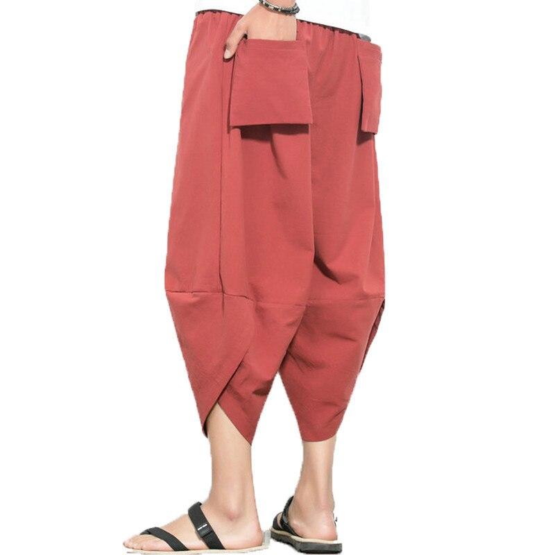 Jogger Trousers Harem-Pants Hiphop Cotton Linen Male Summer Fashion Wide-Leg Harajuku