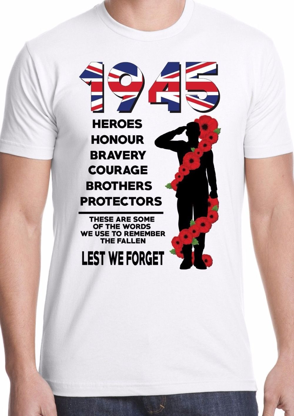 Brand 2019 New T Shirt Man Cotton Casual Men Teeslest we forget world war 2 ww2 remembrance heroes soldier army Movie Tee shirts image