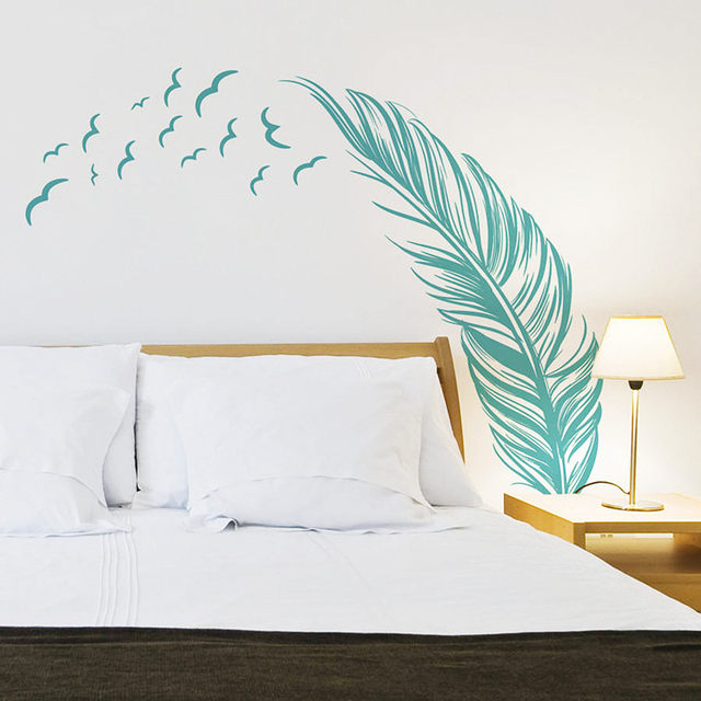 Beatify home Feather creative wall stickers wild Geese return North 3d vinyl decals bedroom decoration warm mural free shipping & Online Shop Beatify home Feather creative wall stickers wild Geese ...