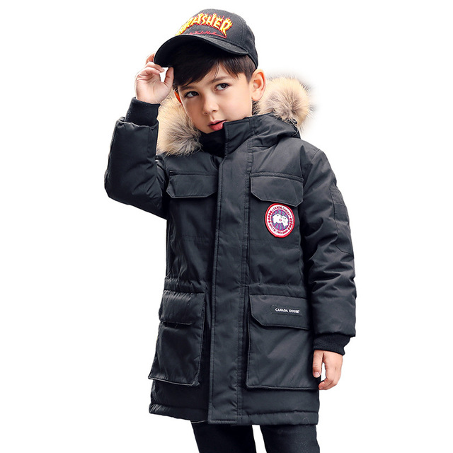 Big Promo Boys Winter Down Jacket Children Long Sleeve Duck Down Parkas Kids Fur Collar Coats Outerwear Teenager Thicken Coats AA51909