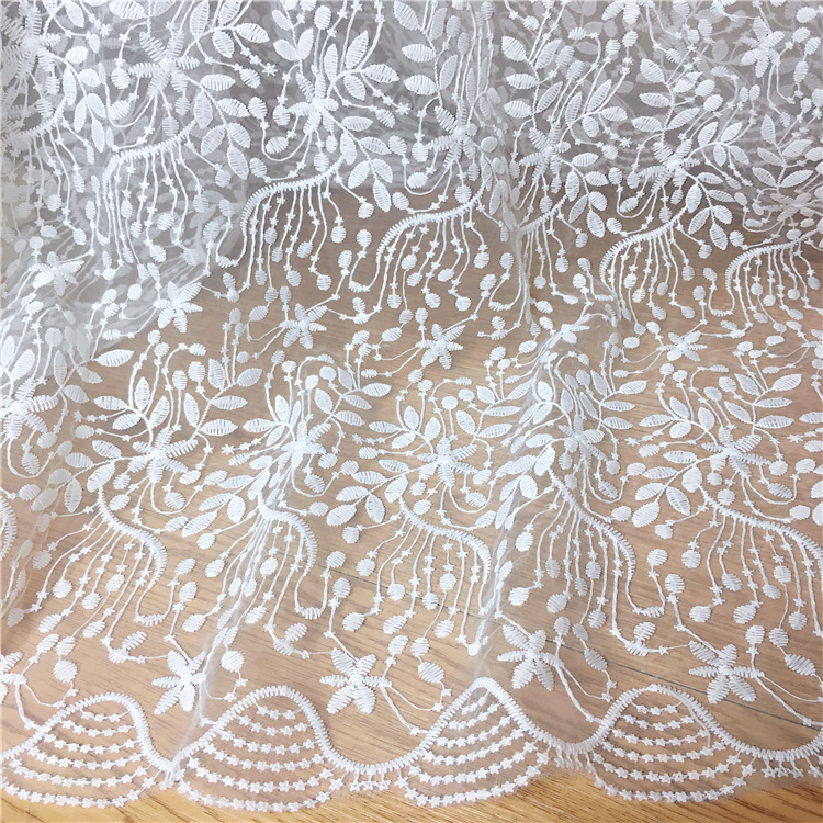 High quality mesh Polyester wedding embroidered lace fabric diy craft fashion skirt dress clothing accessories MT73