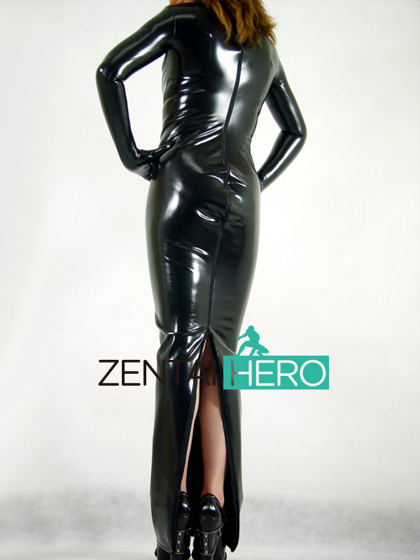 Free Shipping DHL Sexy Gorgeous Women's Shiny Black PVC Back Zipper Carnival Party Long Costume Cosplay Zentai Fancy Dress AXM10