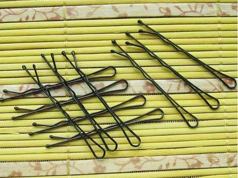1 Pack 60 Pcs Popularitas Sederhana Jepit Rambut Hitam Paduan Rambut Klip Jepit Rambut Aksesoris Hiasan Kepala Bola Tip Bob Pin