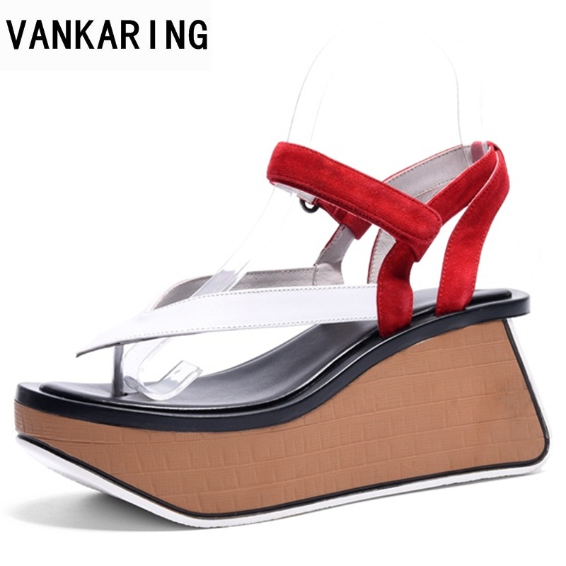 VANKARING summer women sandals fashion wedge platform women sandals open toe woman shoes strange style heel wedges casual shoes 2pcs car seat gap pocket catcher organizer leak proof storage bags multifunctional seat gap store content box a8046