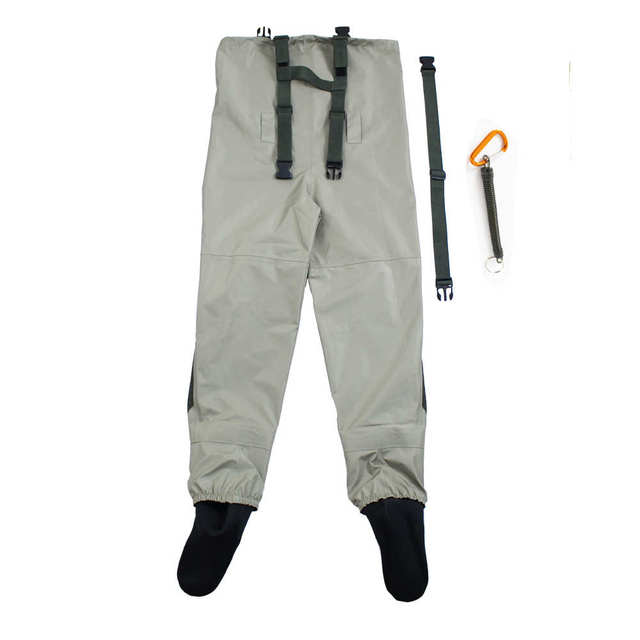 Outdoor Fly Fishing Stocking Foot ,waterproof and breathable chest waders with one buckle accidently rope kits 2