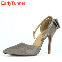 2017 Brand New Hot Sexy Black Gold Silver Women Sandals High Stiletto Heel Lady Sparkly Party