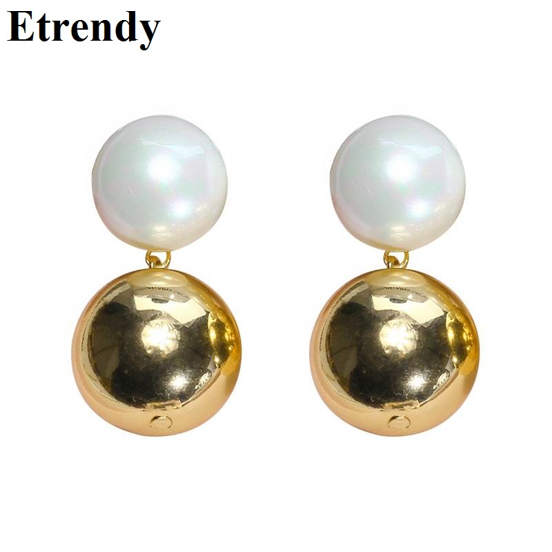 Fashion Big Ball Earring Gold Color Simple Drop Earrings For Women Personality Jewelry Bijoux