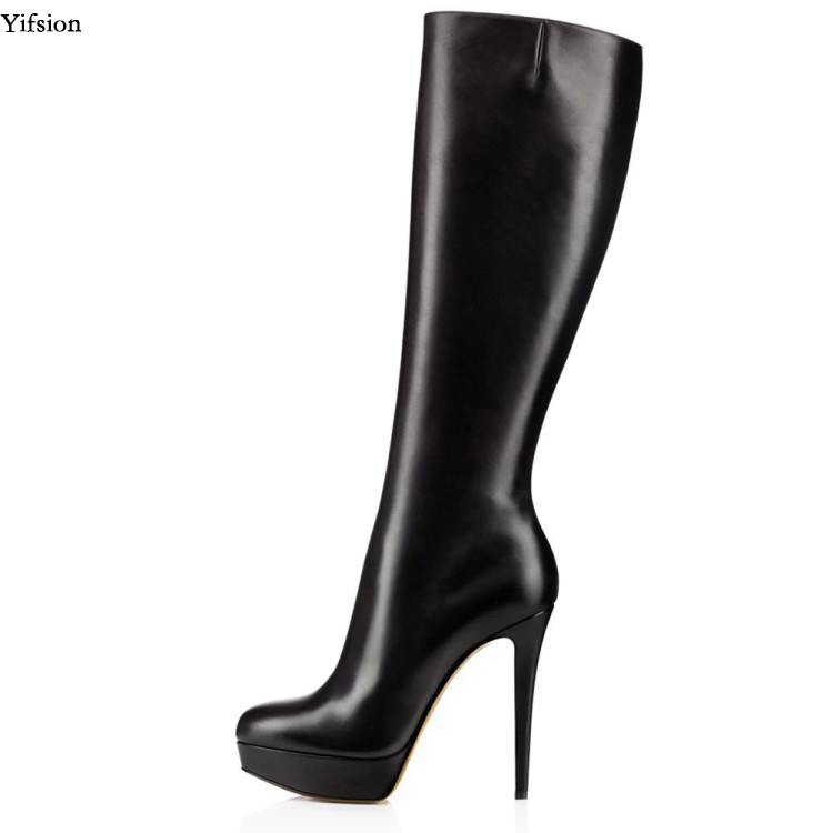 Olomm New Arrival Women Platform Knee High Boots Sexy Stiletto High Heels Boots Round Toe Black
