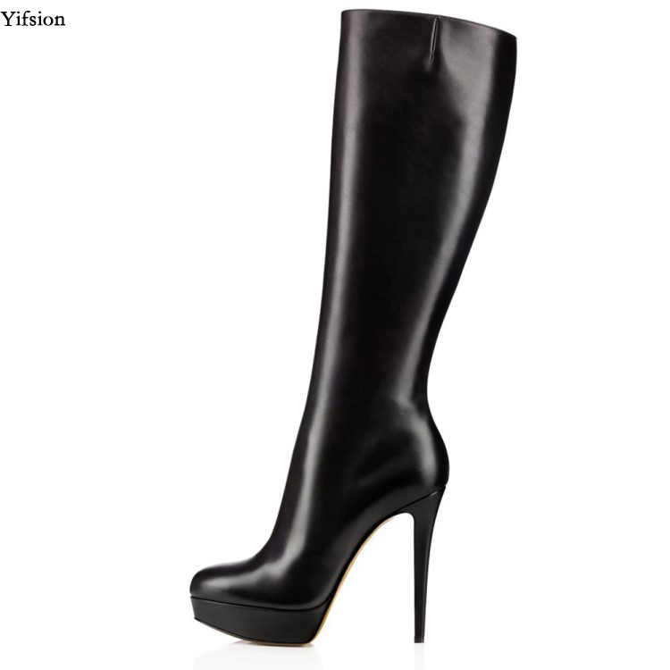 2dce0d3dec8 Detail Feedback Questions about Real Photo Black Knee High Stilettos ...