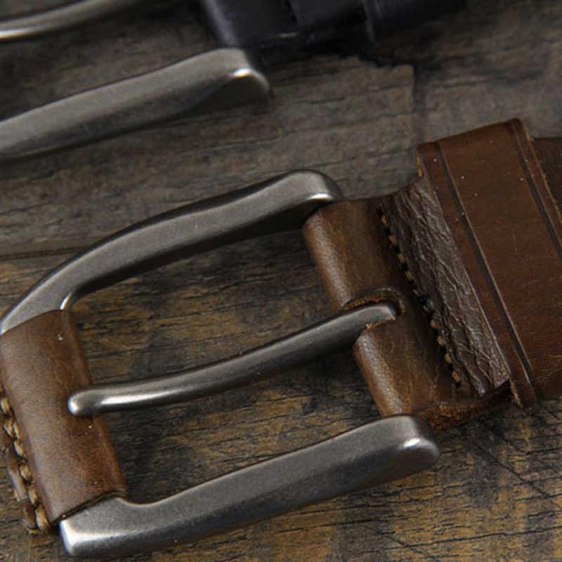 Nieuwe 2019 Crazy Horse Koeienhuid Lederen Riem Lederen Riem Voor Mannen Bruin Pin Gesp Jean 'S Band Vintage cinto