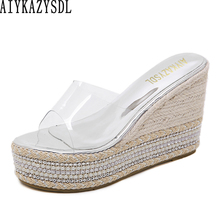 AIYKAZYSDL Women Crystal Transparent Clear Sandals Slides Mules Summer Open Toe