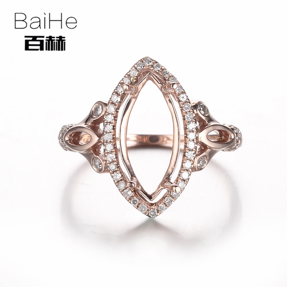 BAIHE Solid 14K Rose Gold(AU585) Certified Marquise Cut Wedding Women Office/career Fine Jewelry Elegant unique Semi Mount Ring BAIHE Solid 14K Rose Gold(AU585) Certified Marquise Cut Wedding Women Office/career Fine Jewelry Elegant unique Semi Mount Ring