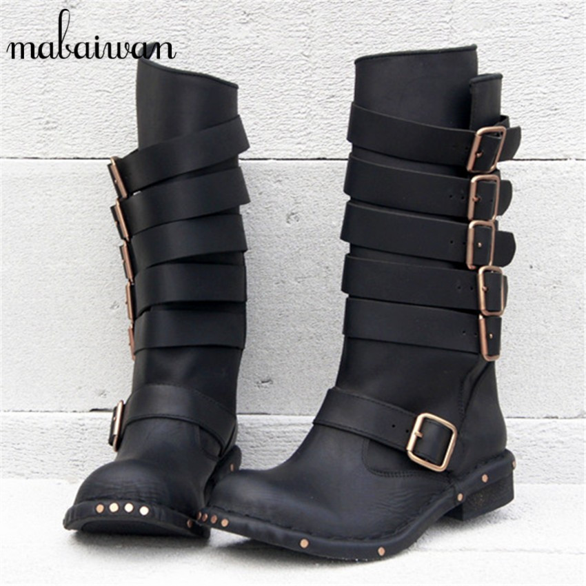 Mabaiwan Black Women Genuine Leather Mid-calf Boots Thick Heel Long Boots Strap Side Zipper High Botas Militares Motorcycle Boot mabaiwan handmade rivets military cowboy boots mid calf genuine leather women motorcycle boots vintage buckle straps shoes woman