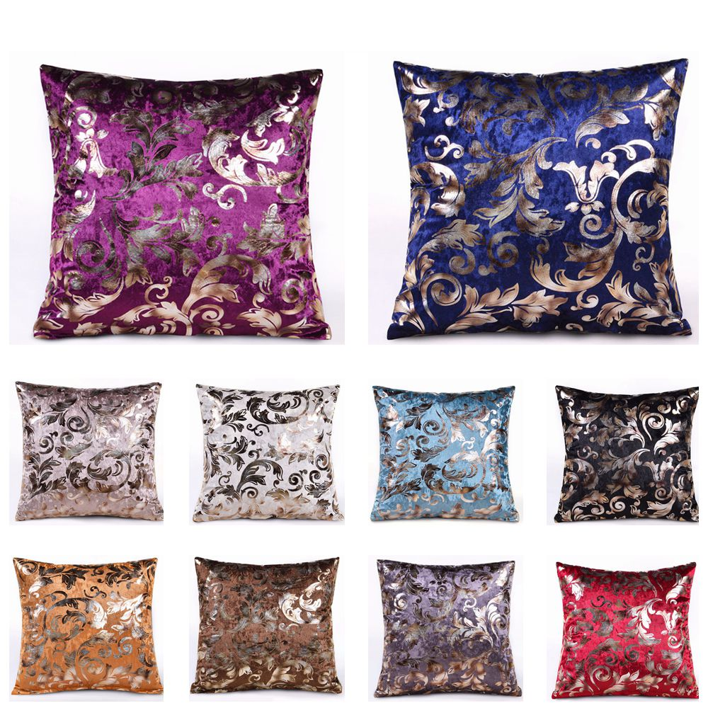 RUBYLOVE Silvery Golden Ice Velvet Square Cushion Cover Throw Pillow Case Car Seat Waist Home Office Sofa Home Decorative